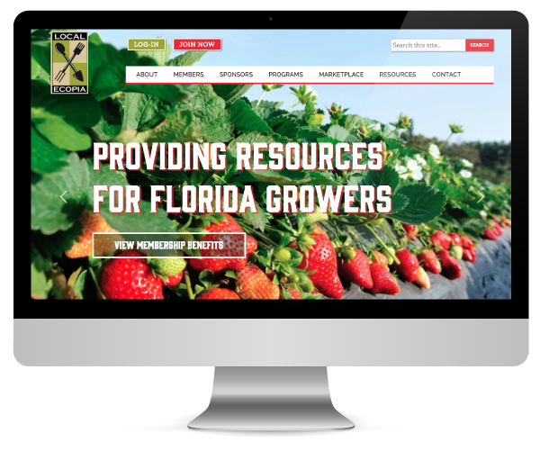This image shows the home page of Localecopia.org. It shows strawberry vines cascading over a wall. Click to link to the localecopia case study.
